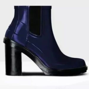 Hunter Dark Blue Refined High Heel Rain Boots